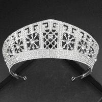 FORSEVE Luxus Handgemachte Brautkrone Mode Gold / Silber Farbe Tiara Headboice Stirnband Hochzeit Haarschmuck 210616
