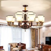 Pendant Lamps Simple Modern Dining Room Lamp Villa Duplex Building Retro Living Household Light Luxury Glass Cover Chandelier