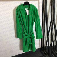 Tasarımcı Marka Çiftler Pijama Bornoz Gecelik Jakarlı Pamuk Mens Bayan Uzun Robe Kış Sıcak Mont