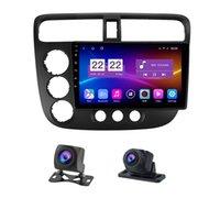 Reproductor de DVD del automóvil de 10.1 pulgadas con una grabadora de cámara dual para Honda Civic 2000-2006 GPS Radio Pantalla de radio todo en uno espejo con capacitivo-enlace Android 10.0 24h Monitor de estacionamiento