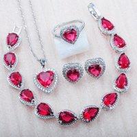 Boucles d'oreilles Collier Heart Rose Rose Cristal Rouge Bijoux de bijoux Set Cz Bague Bracelet et pour Femmes Fête Cadeau 2021 MN0731