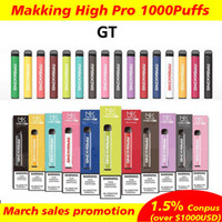 Maskking High Pro Disable Vaes Pen 1000 Puffs Mk 2% Prefalcado Dispositivo Descartável E-Cig Dispositivo Do Vagem Local Vape Starter Local