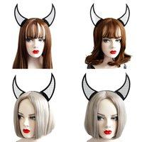 Devil Horn Headband Halloween Bar Dance Women Black Netted Horn Hair Bands Personality Fascinator Hats Supplied C3
