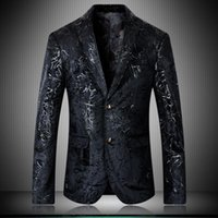 Men's Suits & Blazers Men High Quality Velvet Printed Single Breasted Prom Man Plus Size 4xl 5xl Fashion Casual