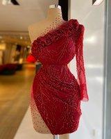 ASO EBI 2021 Arabisch Burgund Luxuriöse Sexy Abendkleider Perlen Kristalle Prom Kleider High Hals Formale Partei Zweiter Empfangskleider ZJ66