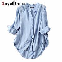 SuyaDream Femmes Chemisier Chemisier 50% coton 50% Draps 3/4 blouses blouses blouses de bureau de bureau femme chirive automne hiver bleu 210225