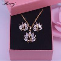 Romantisk gåva för kvinnor påfågel Top White Zircon Crystal 18K Guld Kostym Smycken Ange örhängen Kedja med hänge