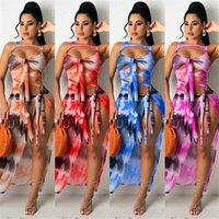 För designers satin prom kläderdress kvinna kvinna klänning klänningar sommar mode sexig bröst inslagna tryckta ärmlös klänning kvinnor # 3fj
