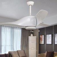 I lampadari della ventola del soffitto retrò 52 pollici con le luci del telecomando del telecomando Frequenza sala da pranzo soggiorno camera da letto leggero ventilatore a led lampada a sospensione vintage