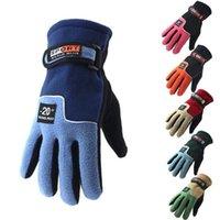 Winter Fleece Gloves Thicken Warm Ski Glove Snowboard Mittens Travel Sports Five Finger Gloves Party Favor 2pcs pair