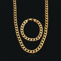 Fashion 18k Giallo Giallo in oro pieno uomo o donna braccialetto alla moda 21cm 60cm collana set figaro catena orologio link set 56 T2