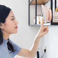 Compact Mirrors LED Lighted Travel Vanity Makeup Mirror Rechargeable 360 Degree Rotation Illuminated Touch Dimmer Portable Wall Looking Glas