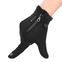 Зимние спорт ветрозащитный водонепроницаемый толстый тепловой экран касается теплого полного пальца лыжные перчатки (L)