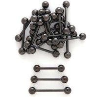 50pcs bijoux-tous Bague de langue de titane noire Bells 14g ~ 1,6mm Nipple Earp Boîte Piercing Bijoux Droits Barbells