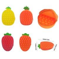 Banque d'ananas en silicone Casse-crayon PopEte Bubble Fidget Toys Sensorial Anti-Stress Dimmer Sac de stockage de papeterie pour enfants