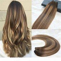 Gerçek Saç Çift Atkı İnsan Saç Uzantıları Balayage Ombre Remy Saç Rengi # 4 Koyu Kahverengi Soluk # 27 Bal Sarışın Ombre Renk Yüksek Kalite