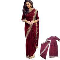 Two Piece Dress Indian Women Islam Traditional Plus Size Lace Saree Decoration Elegant Hindu for Vestido o - 028