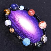 Beaded, Strands Galaxy Solar System Bracelet Universe Nine Planets Natural Stone Stars Earth Moon For Women Man Fashion Jewelry Bangles