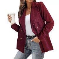 Women's Suits & Blazers Blazer Autumn Winter Trend Tops Girls Casual Red Double Row Buttons Ladies Coat Lapel Fashion Female Suit Jacket