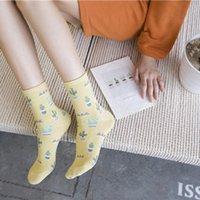 Calcetines suaves casuales diarios Mujeres de dibujos animados de dibujos animados cactus patrón calcetines chicas cómodas lindas sokken cálidas mujeres cortas H6ZV #