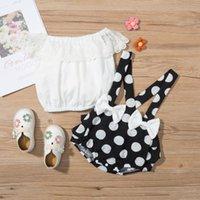 Clothing Sets 6-24M Toddler Baby Girls Summer Outfit,Solid Color Lace Off-Shoulder Elastic Blouse + Polka Dot Bib Shorts For