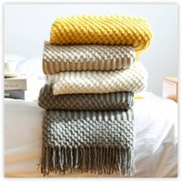 Blankets Textile City Europe Style Faux Cashmere Knitted Blanket Bedspread Embossed Towel B&B Sofa Decorate Throw Comfy Acrylic Bedsheet