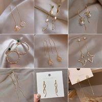 925 Silver Needle Korean-Style Long Face Slimming Ear Studs Pearl Tassel Earrings Womens Simple Net Red Trendy Earrings