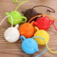 سيليكون الشاي infuser إبريق الشاي شكل reusable الشاي مصفاة أدوات teagbag فلتر الناشر الرئيسية اكسسوارات المطبخ 7 ألوان WQ736-WLL
