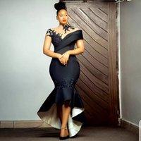 African Short Prom Dress Black Tea Length robes de cocktail Custom Plus Size Formal Evening Gowns