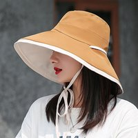 Wide Brim Hats 2021 Fashion Big Brimmed Hat, Solid Color Double-sided Fisherman Hat Summer Simple Lace-up Sun