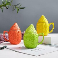 Кружки творческие керамические кружки кукурузные горькие тыквы формы офис кофе чай чашка пара с крышкой домой пьет посуда праздник подарок