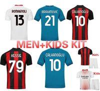 2021 AC Milan Home Soccer Jersey Ibrahimovic Brahim Tonali theo Bennacer Rebic Leao Camicia calcio Calhanoglu Saelmaekers Man + kit per bambini.