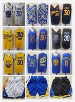 "Mens Golden ""State"" Guerreiros ""Jersey Klay 11 Thompson Stephen 30 Curry"" Basquetebol Shorts Basquetebol camisolas azuis"