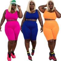 2021 Vendita calda Grande Donne Versatile Versatile Nuovo stile Elastico Gilet Elastico Pantaloncini Due pezzi Set Moda Casual Summer Solid Color Slim Sportswear Tuta