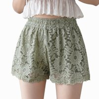 여성 반바지 여름 패션 섹시한 스트리트웨어 레이스 중공 유행 높은 허리 순수 컬러 클럽 복장 파티 우아한 귀여운