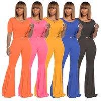 Summer Femmes Taines Jogger Support Couleur Solide Two Piece Ensemble Sportswear à manches courtes T-shirt + pantalon évasé Casual Plus Taille 2x Tracksuits 4537