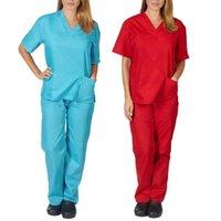 Women's Two Piece Pants Set Men Women Short Sleeve V-neck Tops+Pants Nursing Working Uniform Suit