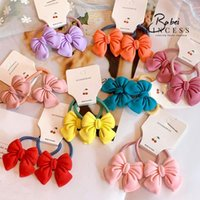 Girls Cute Candy Color Hair Scrunchies Fashion Princess Style Bow Ponytail Holder Sweet Elastic Rubber Band Hair Accessories