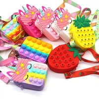 Pop Bubble Fidget Bag Toy Rodent Pioneer Crossbody Bag Messenger Strawberry Pineapple Wallet Silicone Rainbow Macaron Color Puzzle Decompression Toy