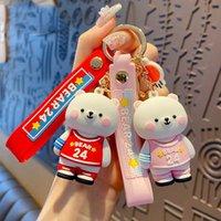 الكرتون الايبوكسي رقم 24 كرة السلة جيرسي الدب المفاتيح لطيف الاتجاه الوردي الملابس الأبيض الدب الحيوان مفتاح سلسلة حقيبة معلقة keyfob هدية H1011