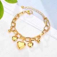 18k gold plated women layered stainless steel heart charm bracelet factory custom design C3