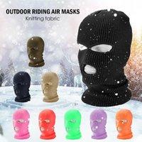 Frauen Männer 3-Loch gestrickt voll Gesichtsabdeckung Ski Winter Warm Radfahren Neon Solide Farbe Balaclava Mask Hut Halloween Party Cosplay Cap