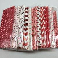 25pcs / lot rouge carré carré cardiaque paille de papier pour mariage anniversaire fête décorative Chevron Chevron Creative Pailles