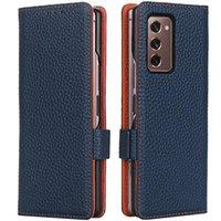 Cep Telefonu Torbalar Folio Flip Case Samsung Fold 2 Katlanabilir Hakiki Deri Kapak Galaxy Z 5G Lüks Darbeye Dayanıklı Coque