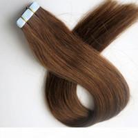 50g 20 stücke Klebstoff Haut Schussband Haarverlängerungen Remy Menschliches Haar 18 20 22 24 Zoll # 6 Mittelbraun Brasilianische indische Haar Harmonie