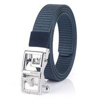 Belts Women's Toothless Automatic Buckle Belt Studded Letter Nonporous Casual Nylon 2.5CM Canvas Luxury Designer