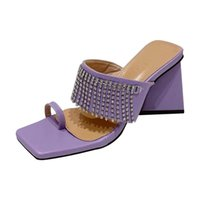 Dress Shoes Triangle Thick High Heels Women's Slippers Fashion Tassels Rhinestone Outdoor Slides Size SlipOn Pumps Set Toes Summer