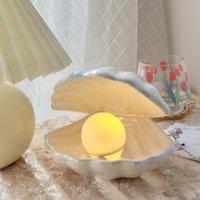 Décoration de fête Fantastique Night Light Céramique Shell Lampe Perle Poudre Blanc Cadeau Blanc Storage de bureau