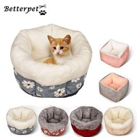 Cat Beds & Furniture Pet Bed Winter House Warm Dog Sleep Sofa Deep Cushion Round Pets Nests Flower Decor Washable Easy Clean Kennel