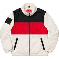 Designer men's color matching warm jacket windbreaker women's zipper woolen jackets fashion white pocket sweater